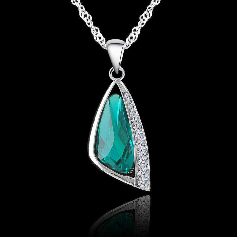 Big Verkauf Österreichischen Kristall Schmuck Sets 925 Sterling Silber Geometrische Anhänger Halskette Ohrring Braut Hochzeit Set Zubehör