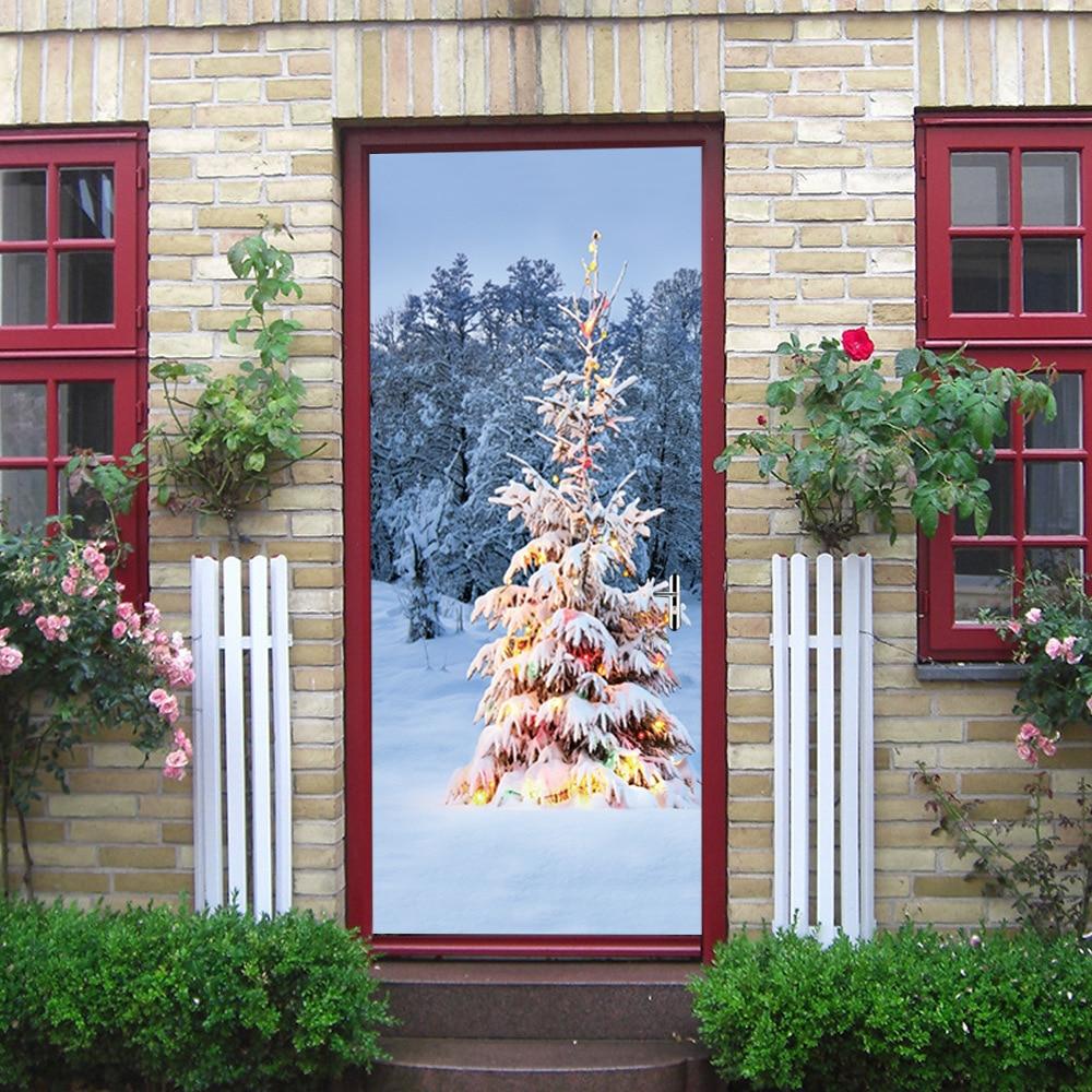 77x200cm Christmas Tree Snow Door Stickers For Living Room Bedroom DIY Waterproof Home Decor Decal 3D Self Adhesive Wallpaper