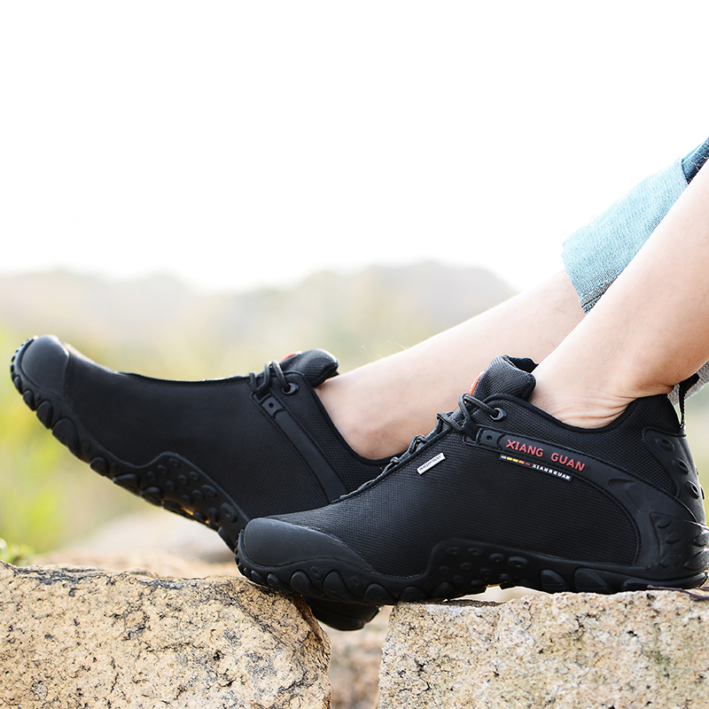 Image 3 - XIANG GUAN Outdoor Hiking Shoes EUR size 36 48 Men Breathable Anti skid Windproof black Women travel Boots Trend Sports Sneakers-in Hiking Shoes from Sports & Entertainment
