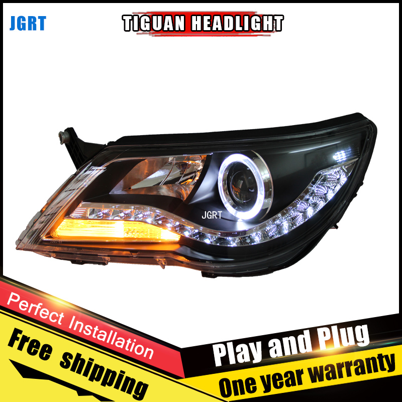 2PCS Car Style LED headlights for VW Tiguan 2010-2012 for Tiguan head lamp LED DRL Lens Double Beam H7 HID Xenon bi xenon lens hireno headlamp for volkswagen tiguan 2017 headlight headlight assembly led drl angel lens double beam hid xenon 2pcs