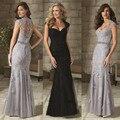 2016 de la sirena de la madre de novia vestido del Applique del cordón del amor botón Back piso longitud de Tulle Formal mujeres vestido