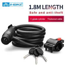 INBIKE Bike Lock 1.8m 1.4m Bicycle Cable Lock Anti-theft Lock with 3 Keys Cycling Password Combination Security Steel Wire Locks