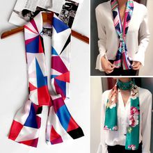 145X15CM Double layer printing long Silk Scarf for women fashion head neck Tie Bag Ribbons skinny scarf laides neckerchief