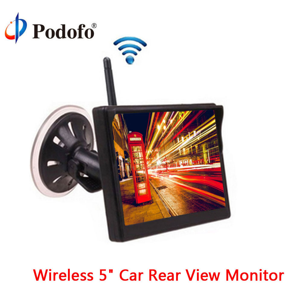 Podofo Wireless 5 Car TFT Color Rear View Monitor Digital Screen Display with 2 Video Inputs In-Dash Display for Backup Camera