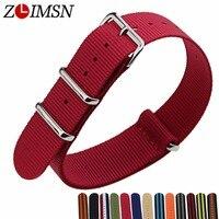 ZLIMSN 22mm Nato Nylon Strap Watchbands Watch Belt Silver Black Watch Bands Metal Buckle Watchband Mens