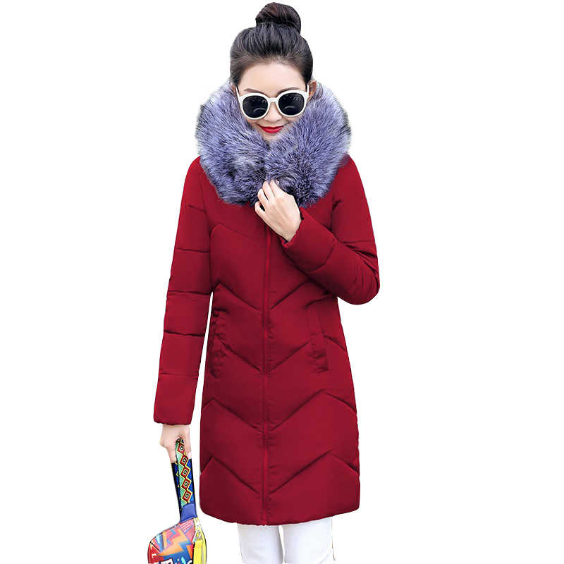 Большая Меховая зимняя куртка утепленная парка женская тонкая длинная куртка зимнее пальто пуховая Хлопковая женская зимняя парка пуховик Женская Новинка 2019