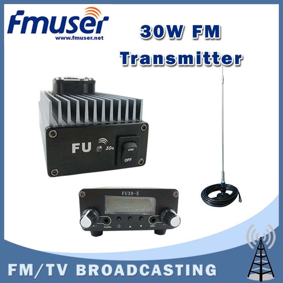 Free shipping  FMUSER FU-30A 30W Professional FM power amplifier transmitter 85 -110MHz+CA200 Car Sucker FM Antenna free shipping fmuser st 05c 0 1w 0 5w fm transmitter antenna power supply kit