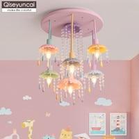 Qiseyuncai 2019 İskandinav tarzı macaron kristal çocuk odası avize yaratıcı basit ve sıcak Prenses odası lambaları