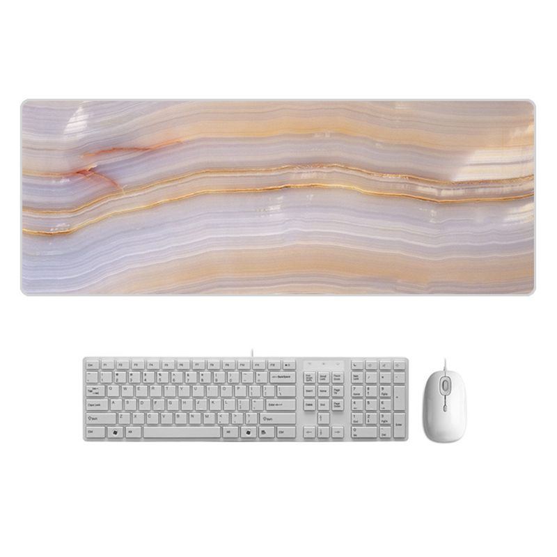 Large  Desk Pad Beautiful Soft Natural Rubber Pink Gold White marble Series Mice Pad Square Gaming Mouse Pad with Locking Edge (9)