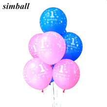 10pcs/lot Baby Shower 1st Birthday Party Decor Pink Blue Number 1 Foil Balloons Supplies Baby Boy Balls 2.8g Latex Helium Globos(China)