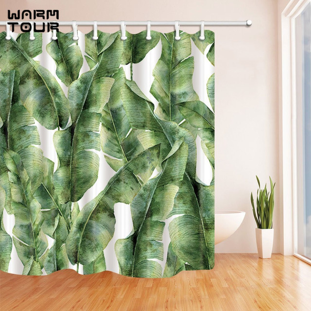 Warm Tour Plant Watercolor Banana Palm Leaves Decorative Fabric Shower Curtains Simple Polyester Waterproof Bathroom Curtain