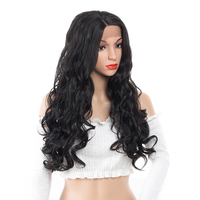 ELEGANT MUSES 24inch Glueless Body Wave Real Synthetic Hair Wig Dark Brown Lace Front Wigs Party Cosplay Daily Dress