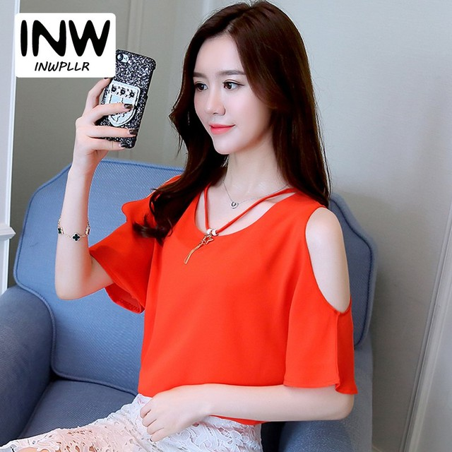 177dd803896 2018 Summer Blouses Shirts Women Cold Shoulder Tops Ladies Short Sleeve  Chiffon Blouse Plus Size Batwing Sleeve Blusa Feminino