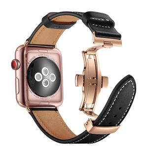 Image 3 - High quality Leather Band for Apple Watch Series 4 44mm 40mm Rose gold Butterfly clasp Strap watchband for iWatch 3/2/ 42mm 38mm