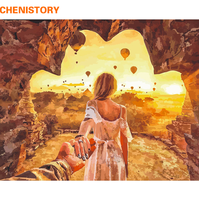 CHENISTORY Frameless Sunset Lover DIY Painting By Numbers Modern ...