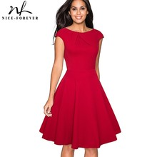 Nice forever Vintage Solid Color Elegant Christmas Dresses with Cap Sleeve A Line Pinup Women Flare Swing Dress A067