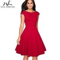 Nice Forever Vintage Brief Solid Color Elegant O Neck Vestidos Cap Sleeve A Line Pinup Business