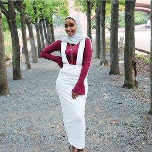 Image 4 - Женская длинная юбка макси на подтяжках, хлопковая юбка с поясом в мусульманском стиле, большие размеры, SK9018