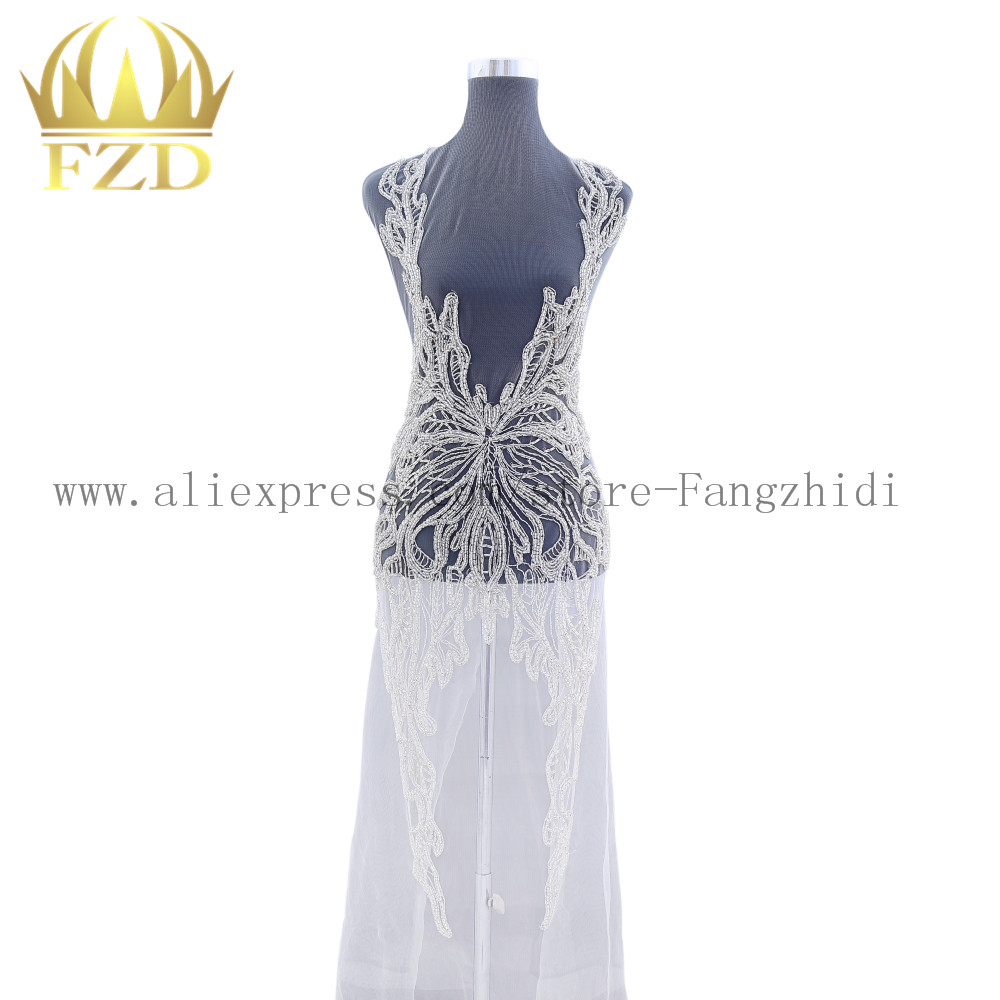 FANGZHIDI Long fashion wedding bodices Patches Rhinestone beads for Wedding Dresses Evening Dresses
