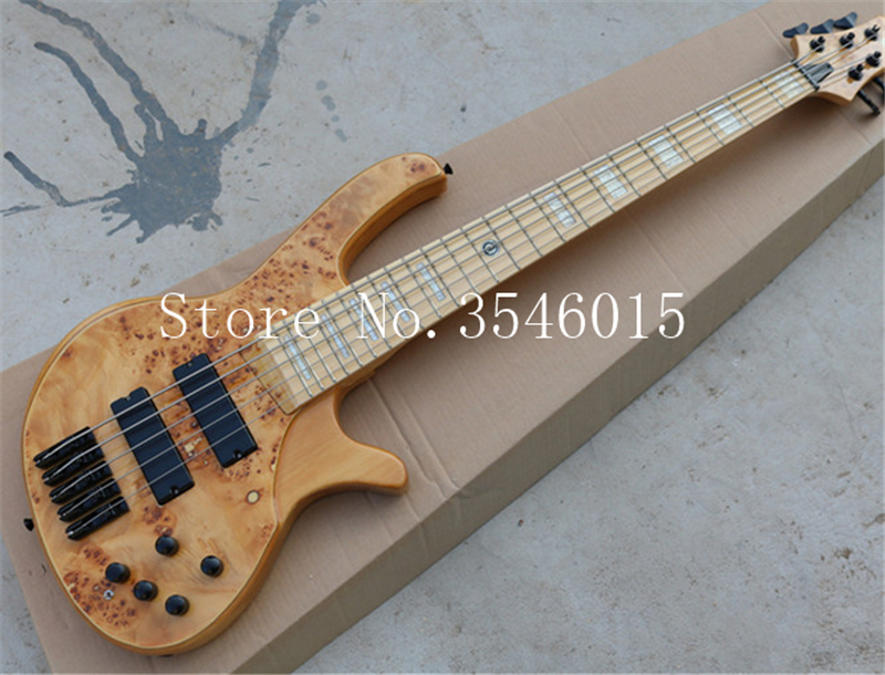 5 strings natural wood color electric bass guitar black hardwares maple fingerboars offer. Black Bedroom Furniture Sets. Home Design Ideas