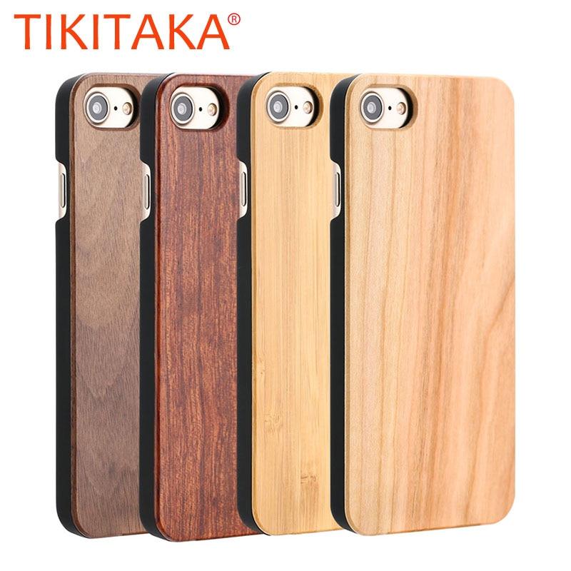 Чехол из натурального дерева для iphone X, 8, 7, 6, 6 S, Plus, 5S SE чехол из натурального бамбука, Деревянный Жесткий чехол для телефона с рисунком в виде ...