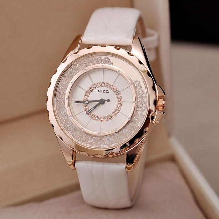 Kezzi marca de luxo senhoras relógio moda fina strass cristal dial alta qualidade alça do plutônio à prova dwaterproof água relógio de quartzo para mulher