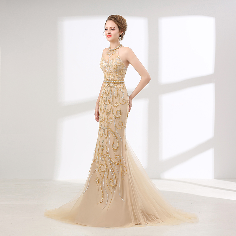 Prom Dresses 2019  vestidos de gala Gold Crystal Beading Halter Mermaid Tulle Luxury Evening Gown Long Sweep Train Party Cockail
