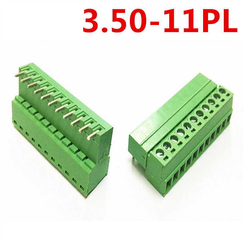 10sets 11 Pin PCB Plug-in type 15EDG-3.5mm spacing Right Angle Bend Screw Green Terminals Block Connector pin header and socket