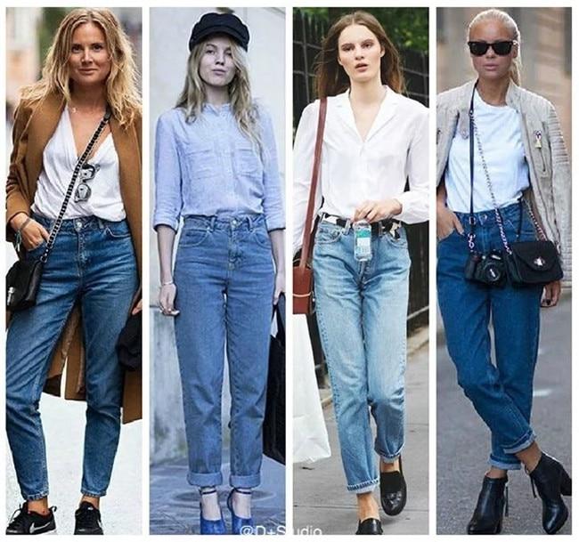 19 korean style women pencil denim pants high waist jeans woman casual vintage jeans boyfriend mom jeans light blue streetwear 7