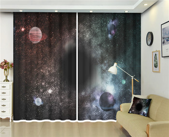 2 Panels Grommets Hooks 3d curtains Galaxy Space printed for Bed room Living room Home Outdoor Indoor Wall Decorations