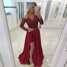 2020 Elegant Burgundy Prom Dresses Sheer V Neck Long Sleeves Lace Chiffon Side Split Plus Size Party Evening Gowns burgundy lace up front v neck long sleeves jumper