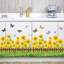 sunflower fence butterfly wall stickers for kids rooms bedroom kitchen home decor wall decals toilet sticker poster