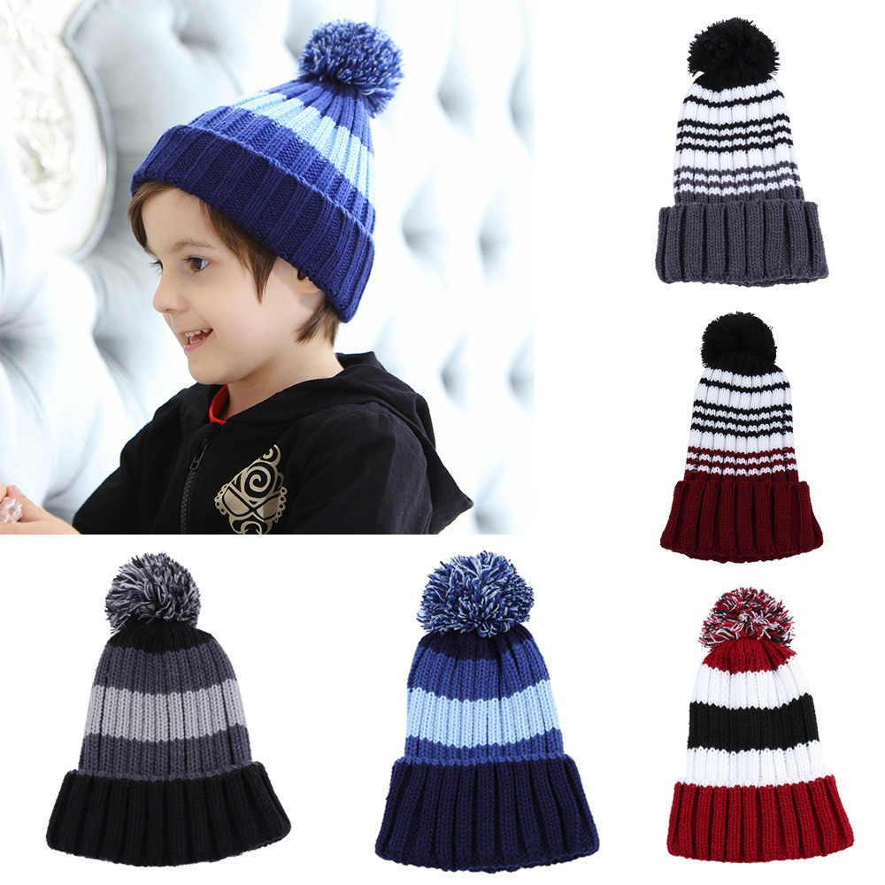 Baby fashion Hat Children Baby Boy Girl Casual Fashion Keep Warm Winter Hats Knitted Wool Hemming Hat Beanie Cap Photo Props zk