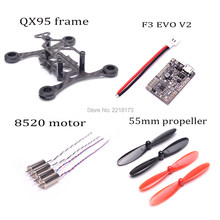 QX95 95mm Micro mini frame SP RACING F3 EVO V2.0 Brush Flight Control Board 8520 motor 55mm Propeller For FPV Micro Quadcopters(China)