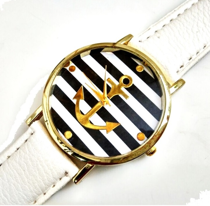 New Navy Anchor Geneva Platinum Watch Woman Geneva Style PU Leather wristwatch women Sailor Old Fashioned Dropshiping