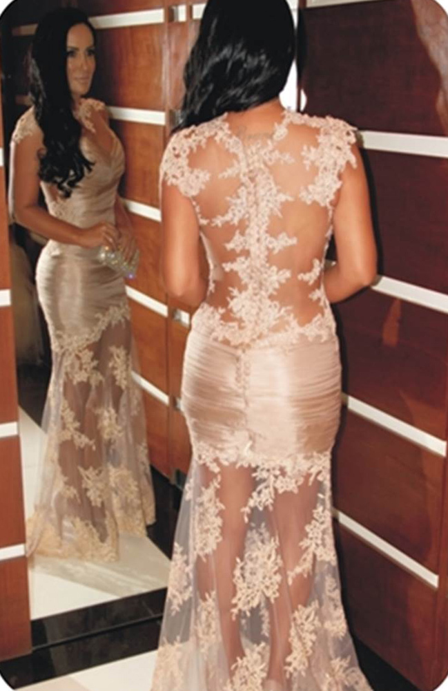Charming Champagne Lace appliques Newly Hot Sell Brand Transparent Party Lace Cap Sleeve Long Prom gown   bridesmaid     dresses