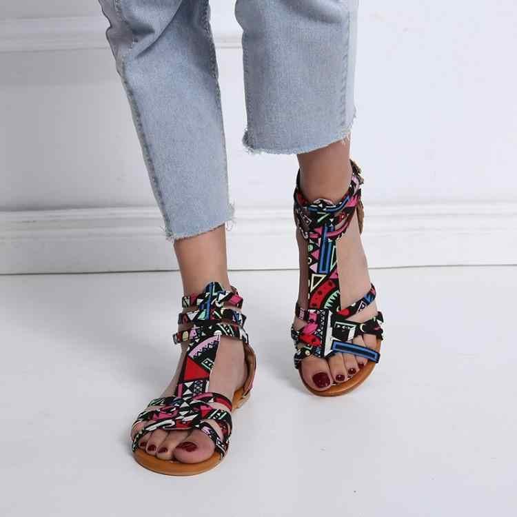 Bohemia Mixed Color Ethnic Narrow Band Women Sandals Peep Toe Cover Heels Ladies Shoes Three Buckles Womens Flats Runway Zapatos