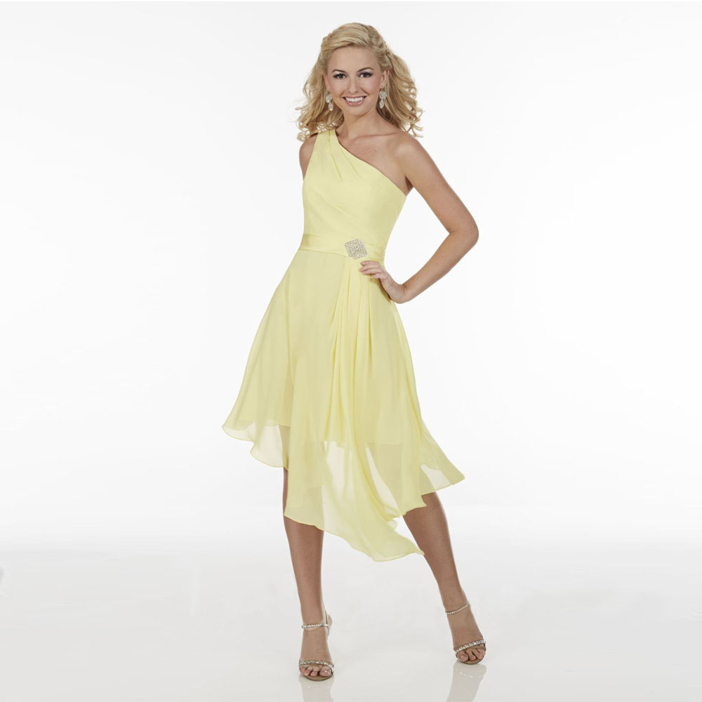 Popular one shoulder junior bridesmaid dress buy cheap one 2017 yellow one shoulder chiffon hi lo junior bridesmaid dresses vestido de festa de casamento dress ombrellifo Choice Image