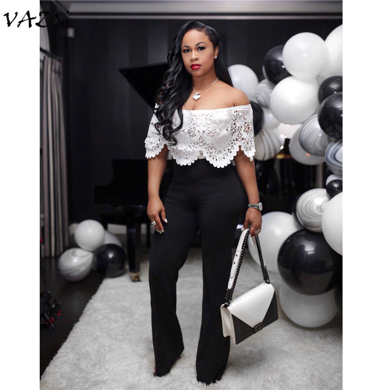 VAZN New Arrive Best Quality 2018 Sexy Women   Jumpsuit   Solid Lace Hollow Out Slash Neck Short Sleeve Long Bodycon Romper F37