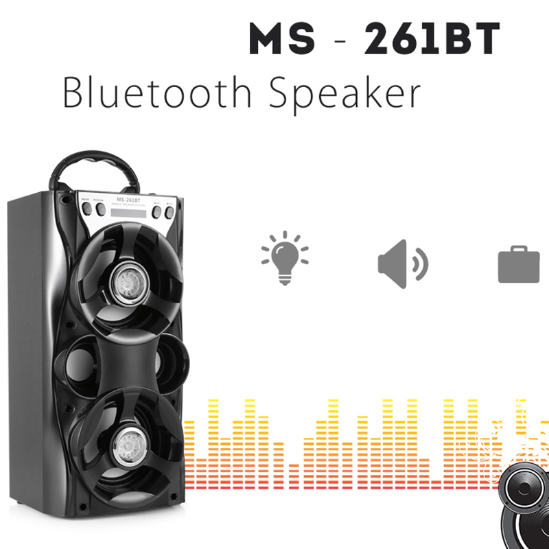 MS 261BT Bluetooth Wireless Portable Speaker Stereo HiFi Music Player W LED Light FM Support AUX TF Card USB Flash Drive 1000mAh