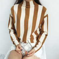 Thicken Warm Vertical Stripe Sweater Woman 2017 Winter Turtleneck Pullovers Female Colorful Sweater Hot Sale Good