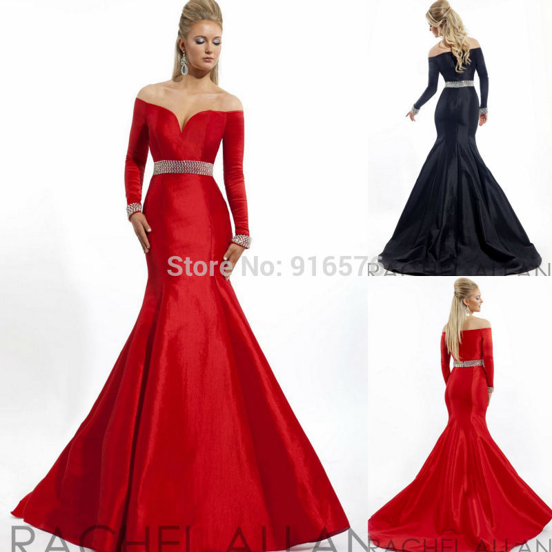 14b36761fc79 Red Black Off Shoulder Mermaid Gown Taffeta Evening Dress Prom Dresses With Long  Sleeves Beaded On The Waist