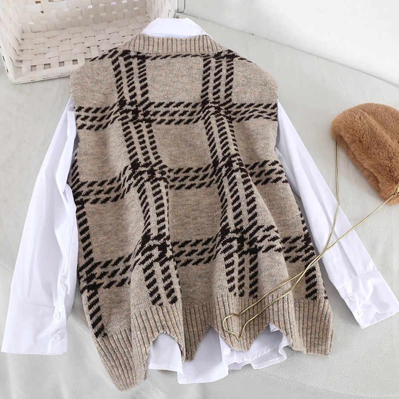 Весенний женский костюм белая рубашка клетчатый вязаный жилет комплект из двух предметов Осенняя свободная Корейская блуза с длинными рукавами черный вязаный жилет женские комплекты