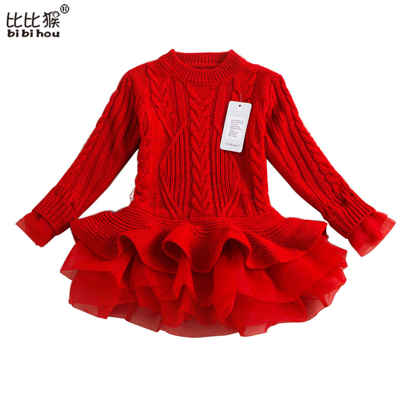 Kids Thick Warm Girl Dress Christmas Wedding Party Dresses Knitted Chiffon Winter Kid Girls Clothes Children CLothing Girl Dress primanova ruby салфетница page 7