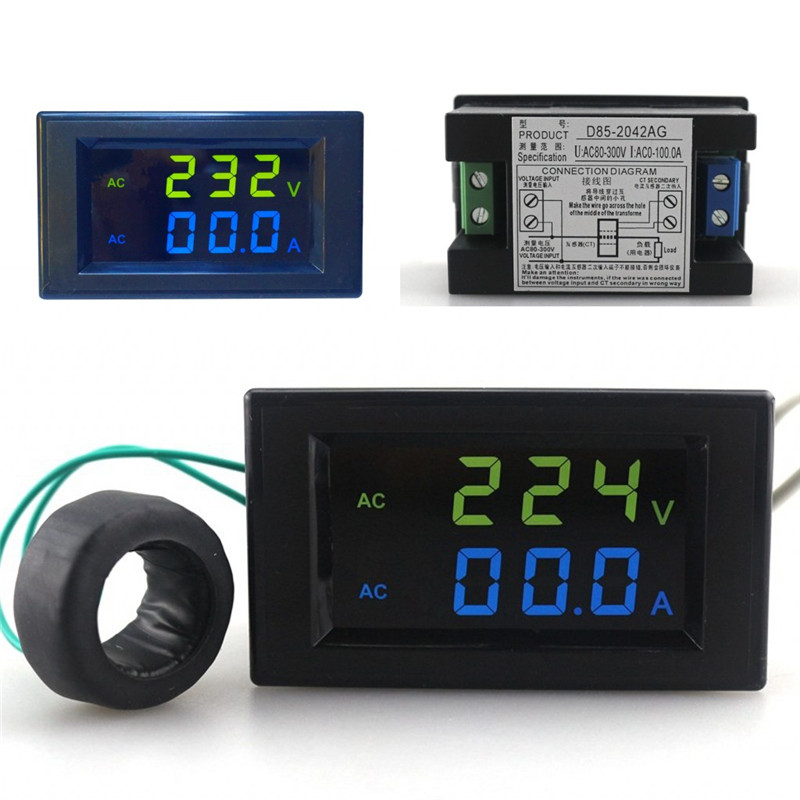 Mini Digital Voltmeter Ammeter AC 300V 100A Panel Amp Volt Current Meter Tester Blue Green Dual LCD Display Free Shipping blue lcd digital ac voltmeter ammeter ac 100 300v 50a 100a volt voltage meter current ampere panel meter