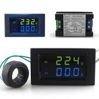 Mini Digitale Voltmeter Ampèremeter AC 300 V 100A Panel Amp Volt Stroom Meter Tester Blauw Groen Dual LED Display Gratis verzending