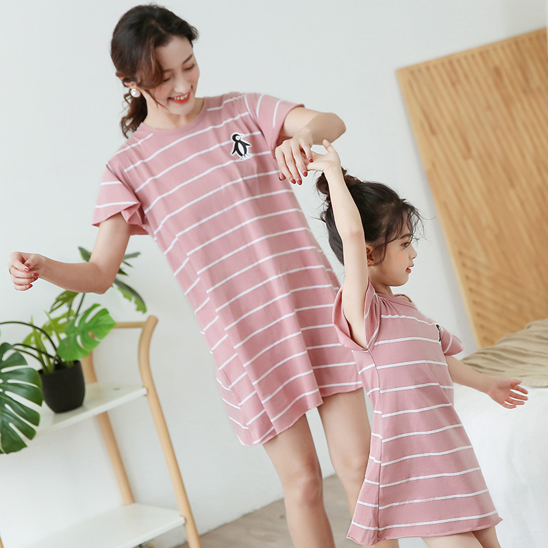 Family Matching Pajamas Mother Daughter Dresses Fashion Summer Cotton Sleepwear Nightdress Family Look Dress Kids Girl Nightgown