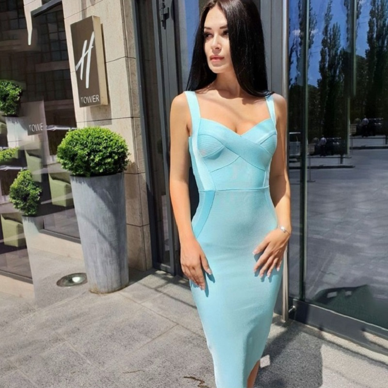 Sky Blue Rayon Bandage Bodycon Dress Top Quality Sweetheart Neckline Knee Length Spaghetti Strap Party Club