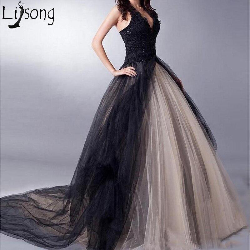 Chic Black and Beige Tulle Long Prom Dresses Halter Gothic Bride Evening Dress V Neck Floor