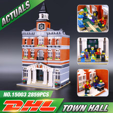 New 2859Pcs 2016 LEPIN 15003 Kid's Toys Creators The town hall Model Building Kits Minifigure Building Blocks legeo Bricks Gif